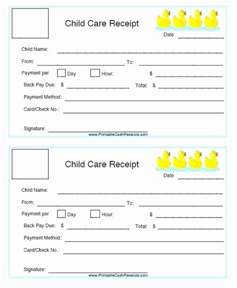 free printable daycare receipt template free printable daycare invoice template inspirational free