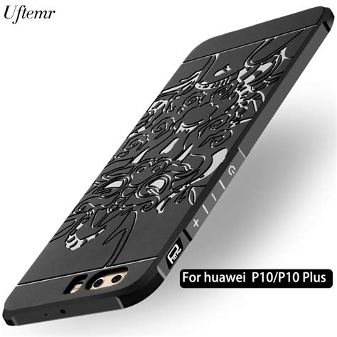 uftemr phone for huawei p10 plus cover frosted 3d armor silicone back cover for