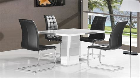 White High Gloss Dining Table And 4 Chairs White High Gloss Dining Table 4 Black Chairs Homegenies