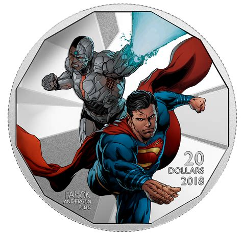 Kaos Black Silver Superman 1 2018 1 oz canada the justice league cyborg and superman 9999 silver coloured proof coin lpm