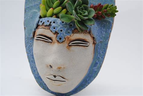 face planters ceramic face planter garden art mask wall by wickedclaygirl