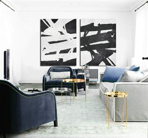 black art home decor set of 2 huge contemporary art acrylic painting on canvas