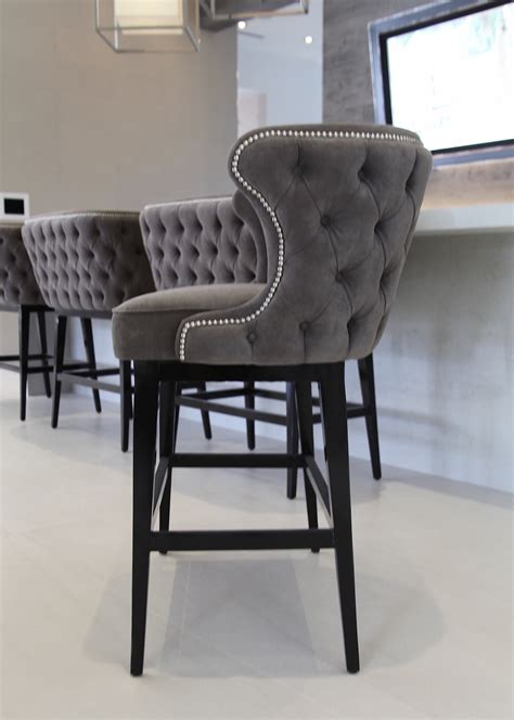 Gray Nailhead Counter Stool by Grey Tufted Bar Stools Home Ideas