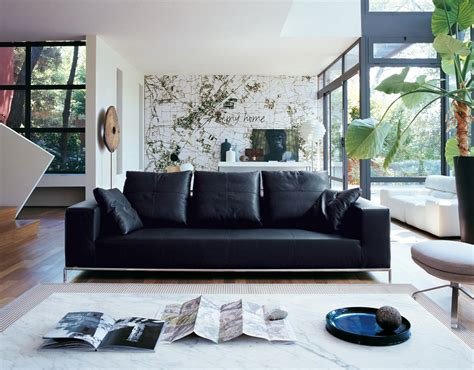 decorating  room  black leather sofa traba homes