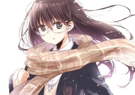 anime girl brown hair wallpaper anime original black eyes brown hair long hair glasses