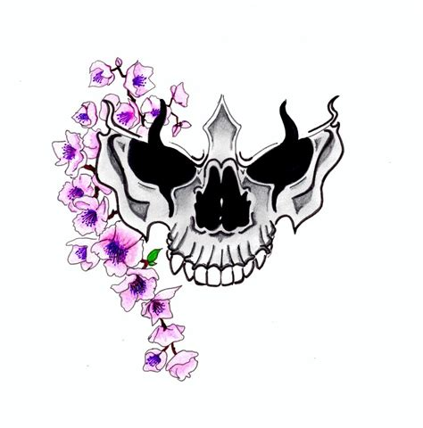small skull tattoos designs cherry blossom and skull design by in the skin on