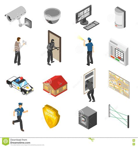 home security service isometric icons set stock vector