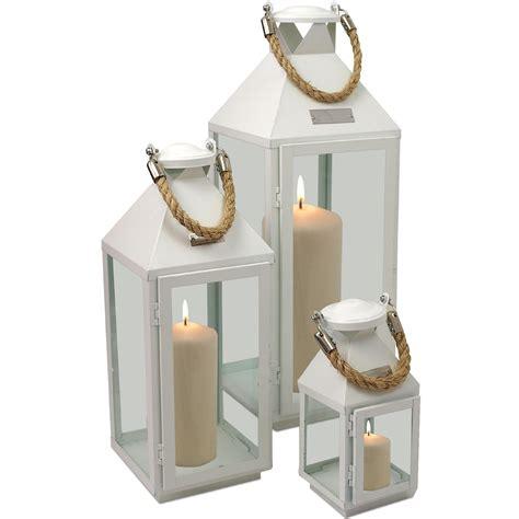 kerzenhalter viereckig 3tlg laternen set h24 41 55cm metall glas wei 223 garten