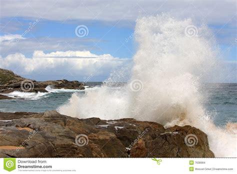 rocks in spanish big wave clashes upon spanish rocks stock images image