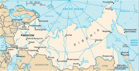 map of russia with cities and rivers cia the world factbook russia