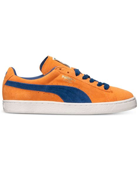 orange sneakers mens s suede classic casual sneakers from finish line