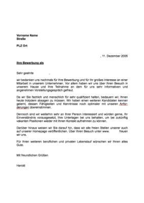 Musterbrief Absage Bewerbung Englisch musterbrief absage einer bewerbung aufnahme reservepool