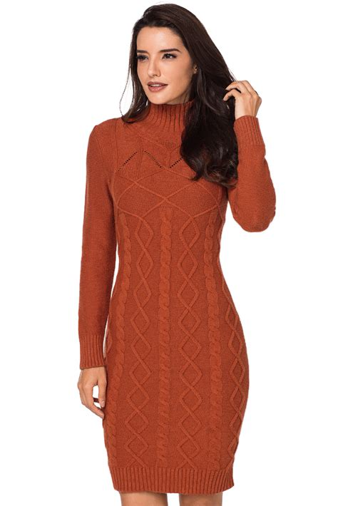 Cable Knit High Neck Sweater us 14 93 burnt orange cable knit high neck sweater dress