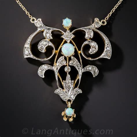 vintage style opal and diamond pendant art nouveau