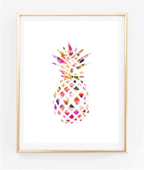 printable art prints free floral pineapple painting art print room decor typographic