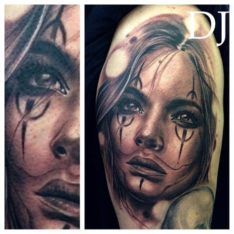 clown girl tattoo custom clown black grey www djtambe
