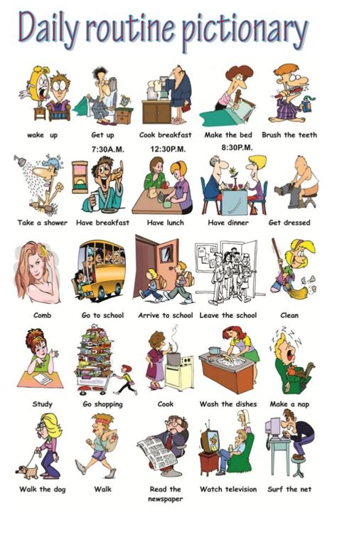 The Daily Routines Of 7 Pictionary Daily Routines