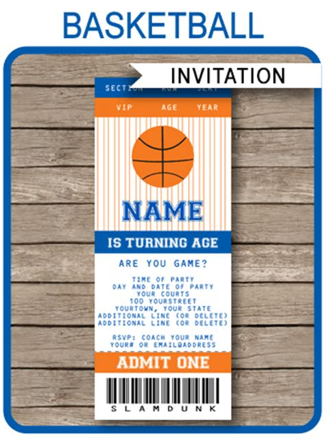 Navy Blue And Orange Basketball Party Ticket Invitation Template Basketball Ticket Template Free