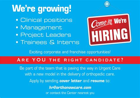 urgent care hiring front desk careers orthonow