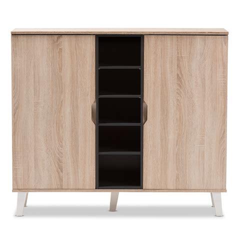 mid century shoe cabinet baxton studio adelina mid century modern 2 door oak and