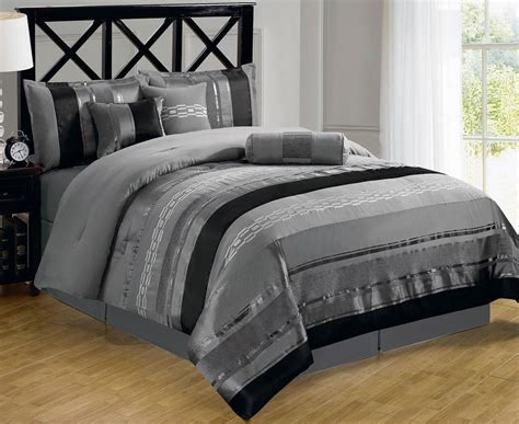 contemporary bedding sets 7 contemporary metallic silver gray black chenille