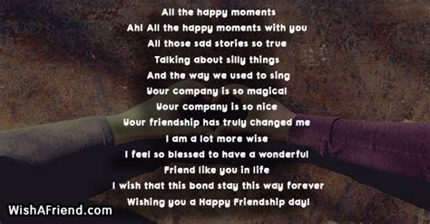happy moments friendship day poem