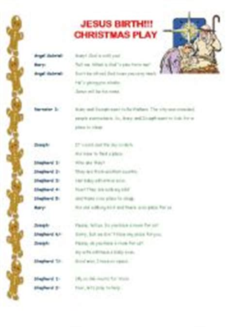english worksheet christmas play 3 pages