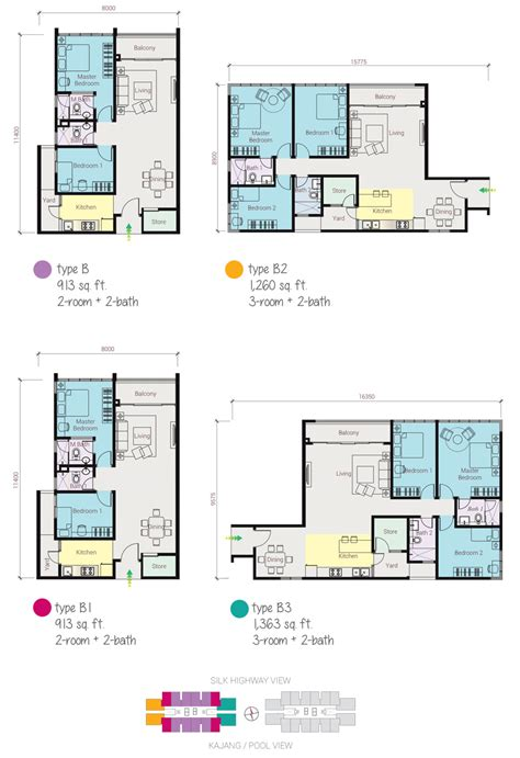 1 Desa Residence Floor Plan by Amerin Mall Residence Service Apartment Balakong