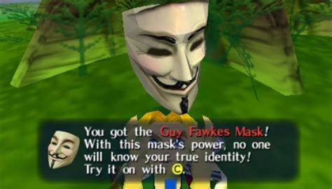 Guy Fawkes Mask Meme - irti funny picture 4588 tags nintendo zelda mask guy