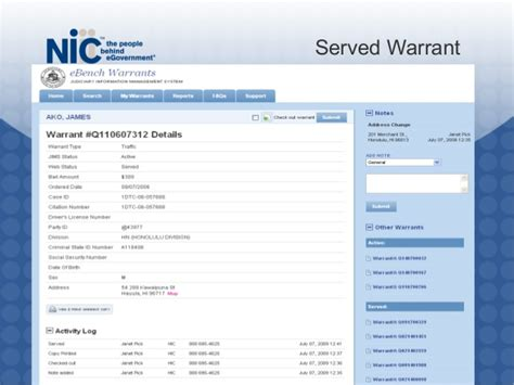 can a bench warrant be served in another state 2009 ebench warrants presentation