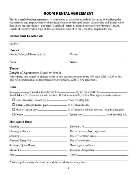 room rental agreement form template templatezet