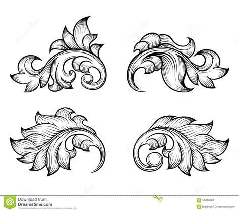 vintage baroque scroll leaf set in engraving style stock