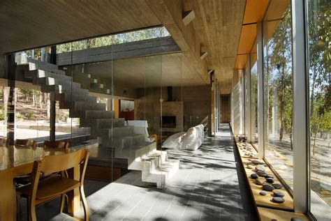 glass and concrete house modern concrete glass stairs omnibus house in cachagua