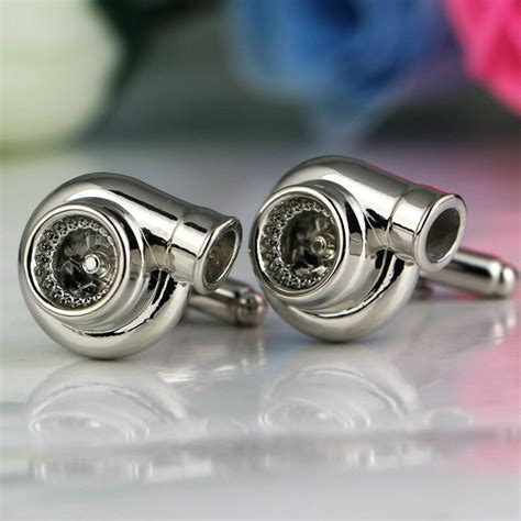 Polished Chrome Silvery Mini Turbo Cufflinks Wedding Best