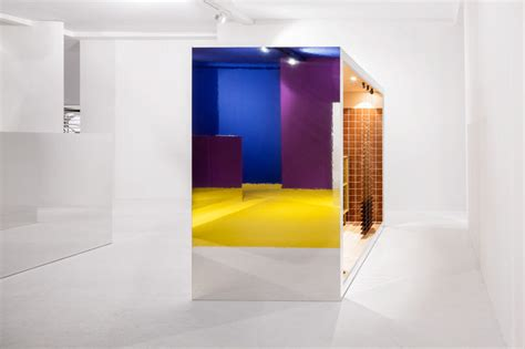 geometric color blocked pavilions spatial experience