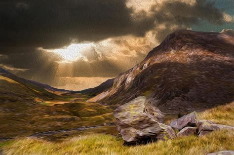 Deer Home Decor moody dramatic mountain sunset landscape digital painting