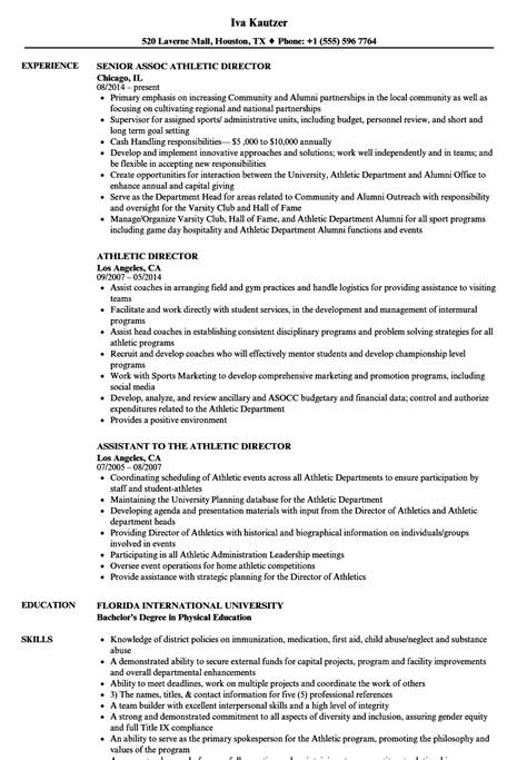 Sle Resume Objectives For Athletic Director athletic director resume exles 28 images professional