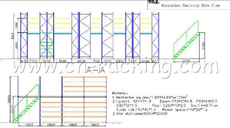 warehouse layout dwg raised storage areas and mezzanine floors chinese