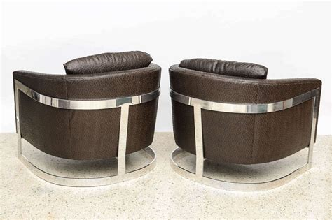 chrome folding upholstered armchair at 1stdibs pair of milo baughman polished chrome and quot ostrich