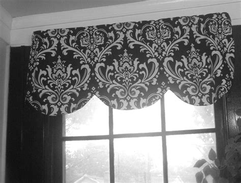 Black And Window Valance Scallop Window Valance Black White Ozbourne Damask Shaped