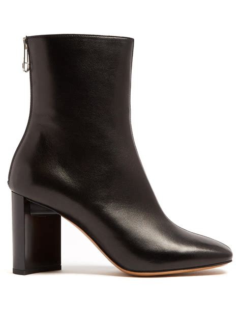maison margiela cut out block heel leather ankle boots in