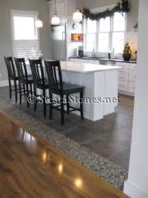 lovely Gray Tile Floor Kitchen #1: Dark-Ocean-Pebble-Tile-Kitchen-Floor-Accent.jpg