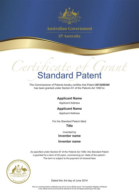 patent certificate template printable word doc certificate of grant standard patent 0
