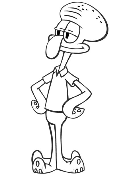squidward from spongebob cartoon coloring page h m