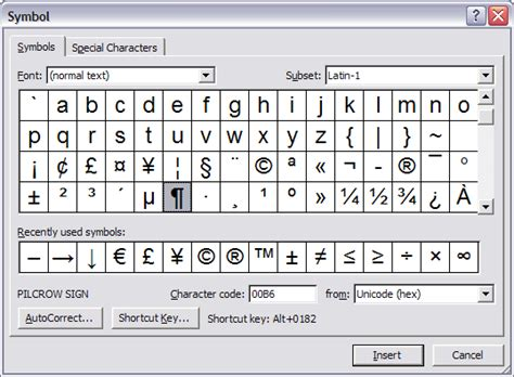inserting symbols and special characters office guru