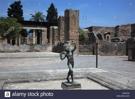 house of the faun house of the faun with a bronze statue of a dancing faun pompeii stock photo royalty