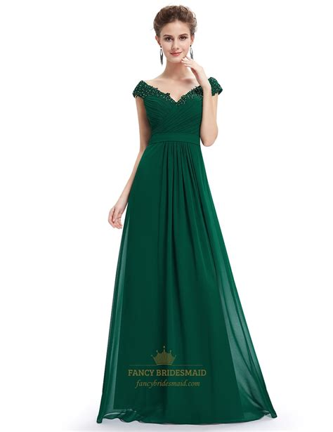 Green Bridesmaid Dress by Emerald Green V Neck Bridesmaid Dresses With Beaded Lace