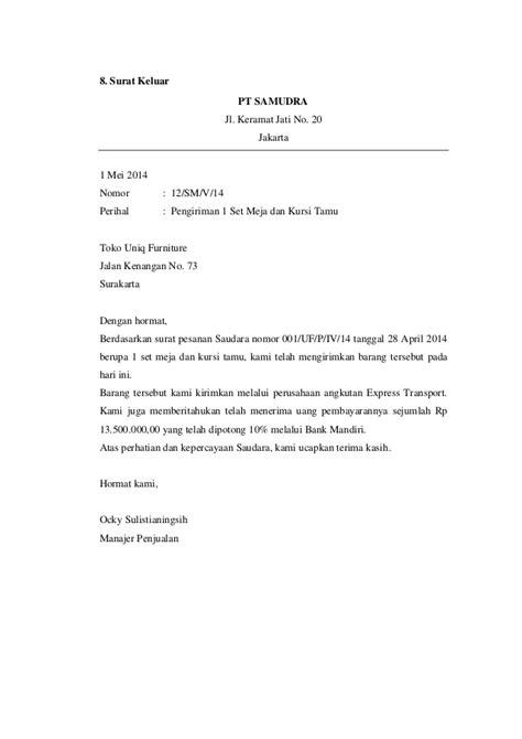 contoh surat masuk  surat keluar