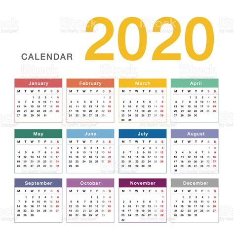 colorful calendar year  vector design template simple  clean design stock illustration