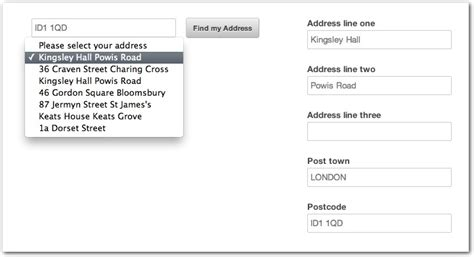 Postcode Search For Address Jquery Postcodes